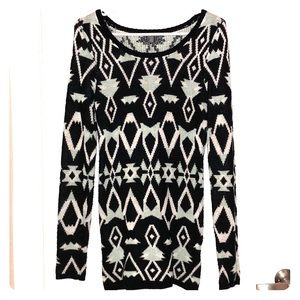 Sweaters - Black, white, and aqua Tribal/ holiday sweater